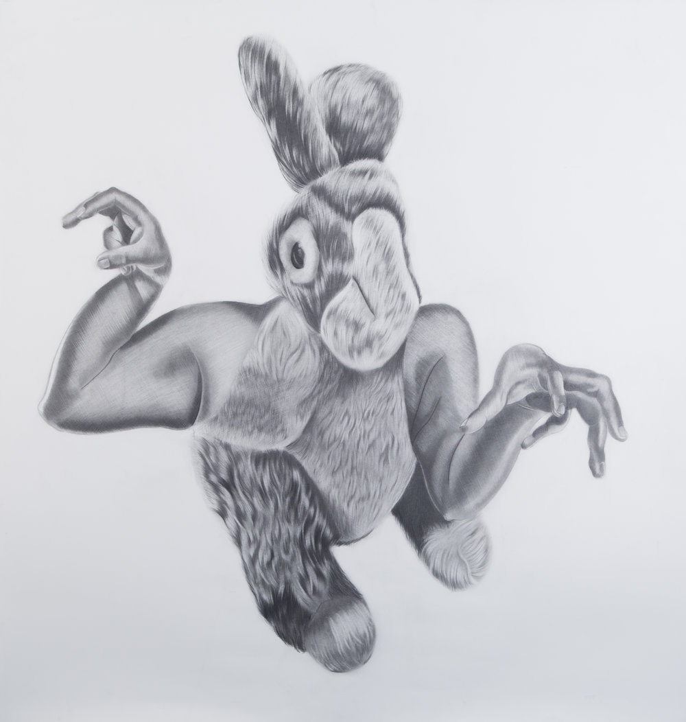 Criatura #4, 36.5 x 39.5 inches. Graphite on paper. 2017