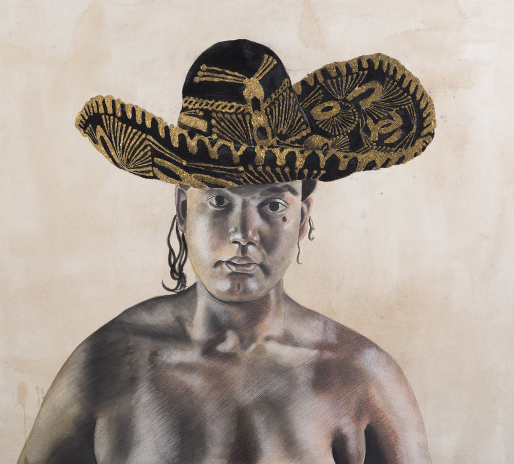 Self-Portrait with a Sombrero,  27 x 30 inches, Multimedia