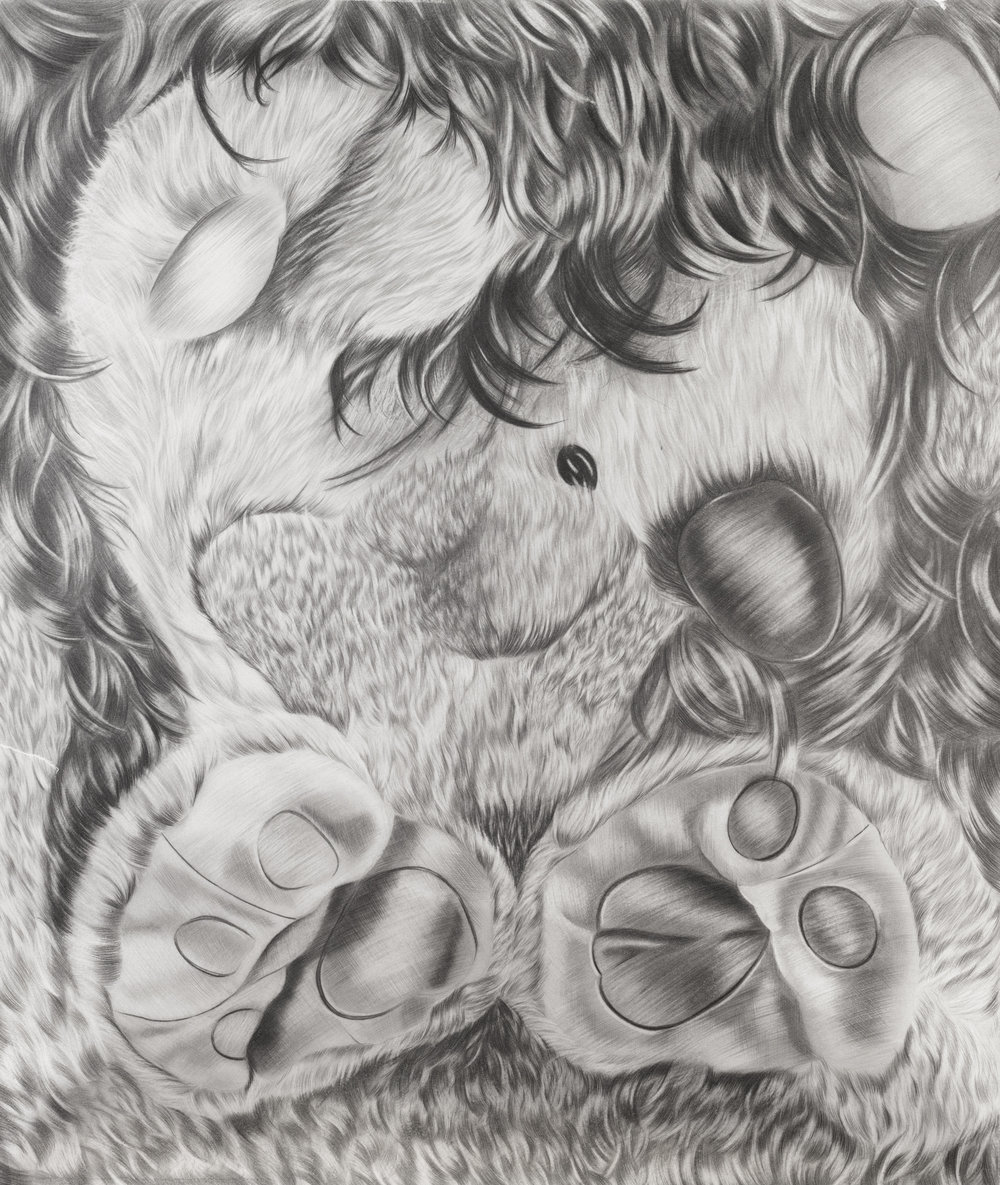 Greñuda #2, 34.5 x 29.5 inches, graphite on paper, 2018