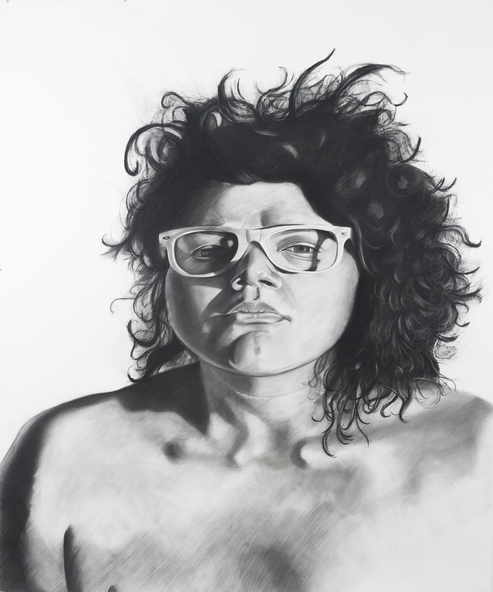 She needed a hero, so that's what she became, 86 x 72 inches, Charcoal on paper. 2015.