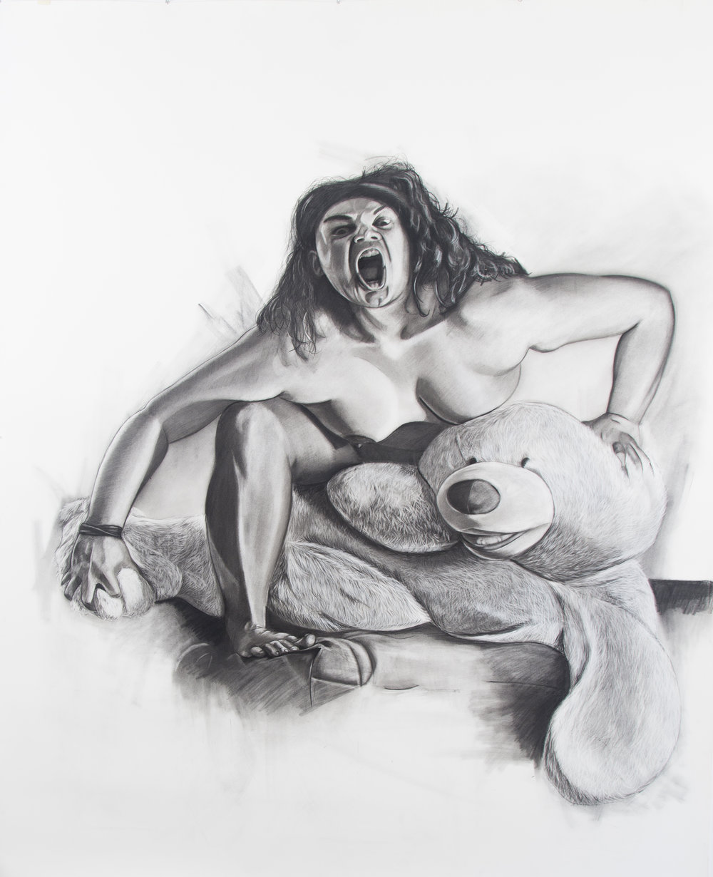 We can't both become the same, 89.5 x 72 inches, Charcoal on paper. 2015