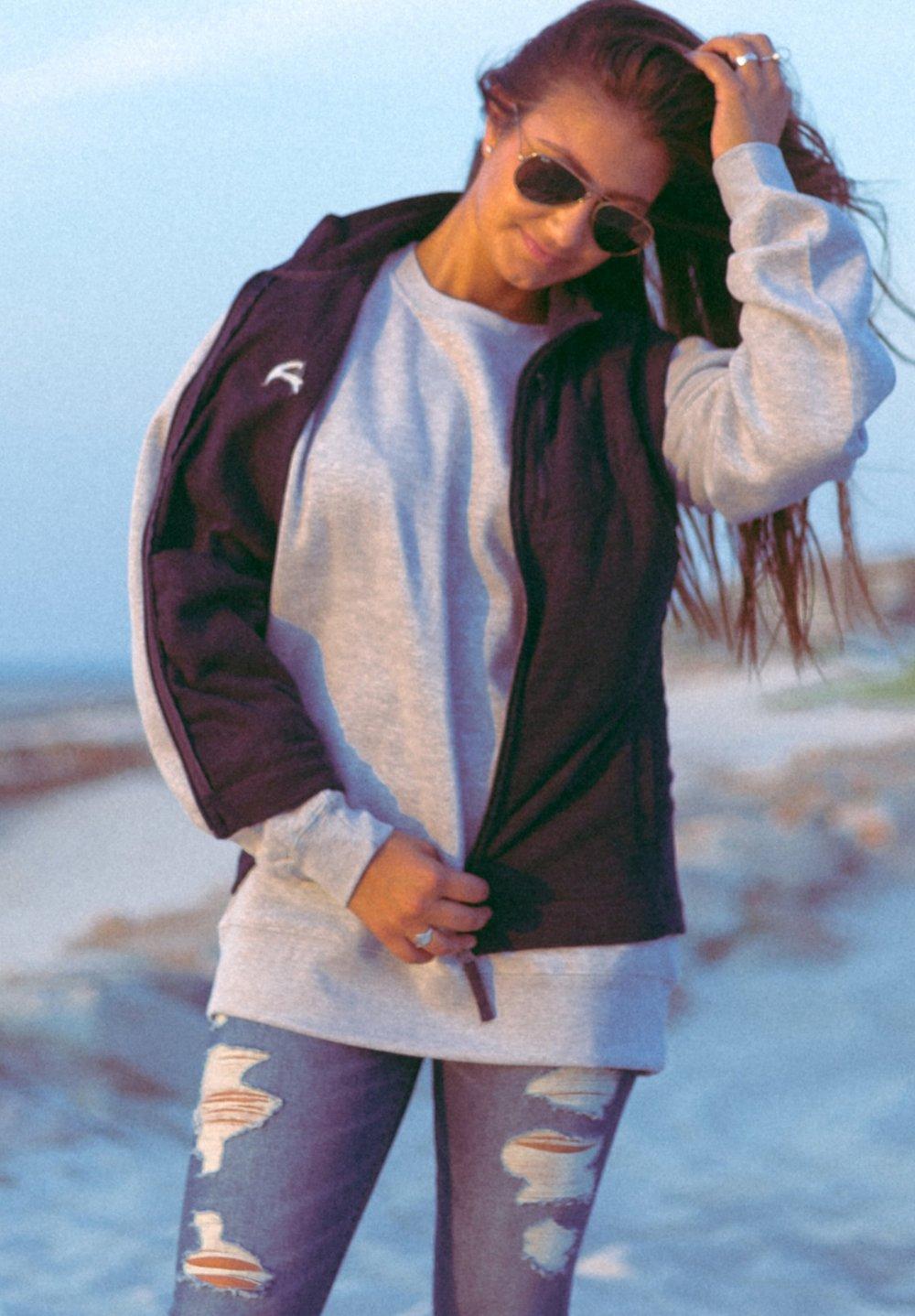 Womens Micro Fleece Vest in Navy. Crewneck Sweatshirt in Oxford