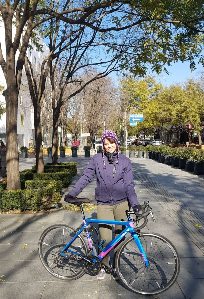 "Posing in Sanlitun with my second-hand ""disco bike""."