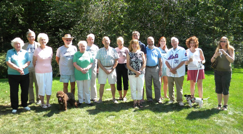 "Our 2016 annual church picnic on at Gedney Park, Millwood was a wonderful, warm event. many of us were wearing our special ""lutheran since 1517"" T-shirts! We thank all our friends who joined us for a beautiful day in the park."