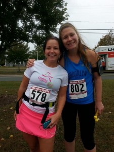 Stephanie (left) and her friend Mariah before the Harwich Half Marathon!
