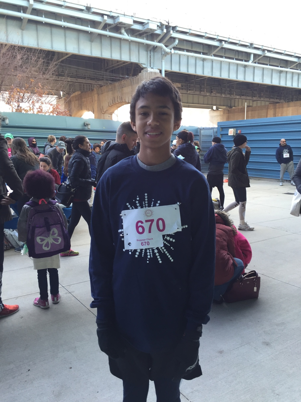 "Julien , New York     ""I am running because my sister wanted me to run! I want to experience this with her."""