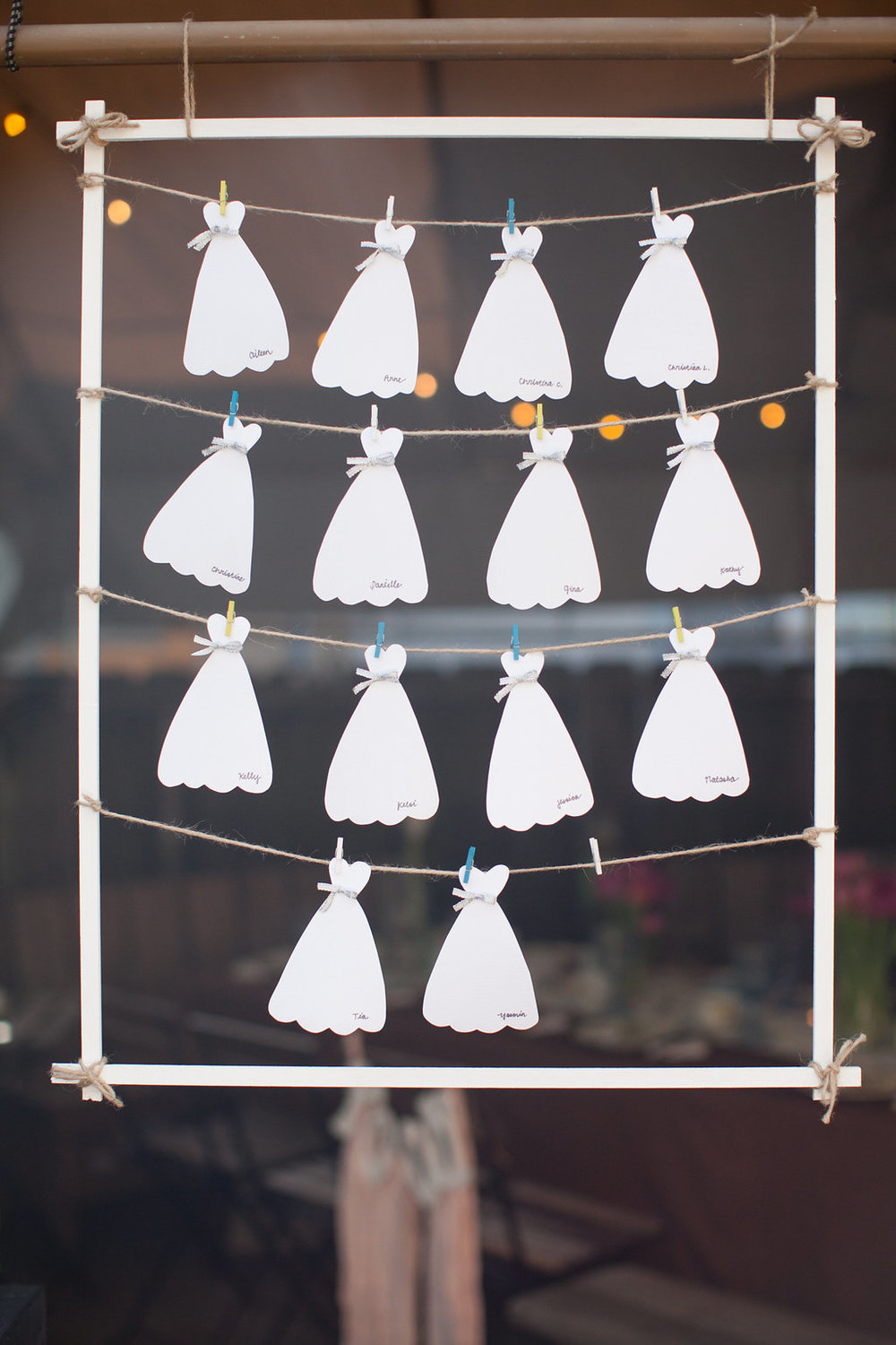 Wedding dresses for guests to write notes to the bride-to-be!