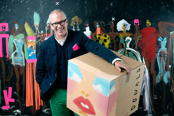 Donald Robertson with a piece he created for Bergdorf