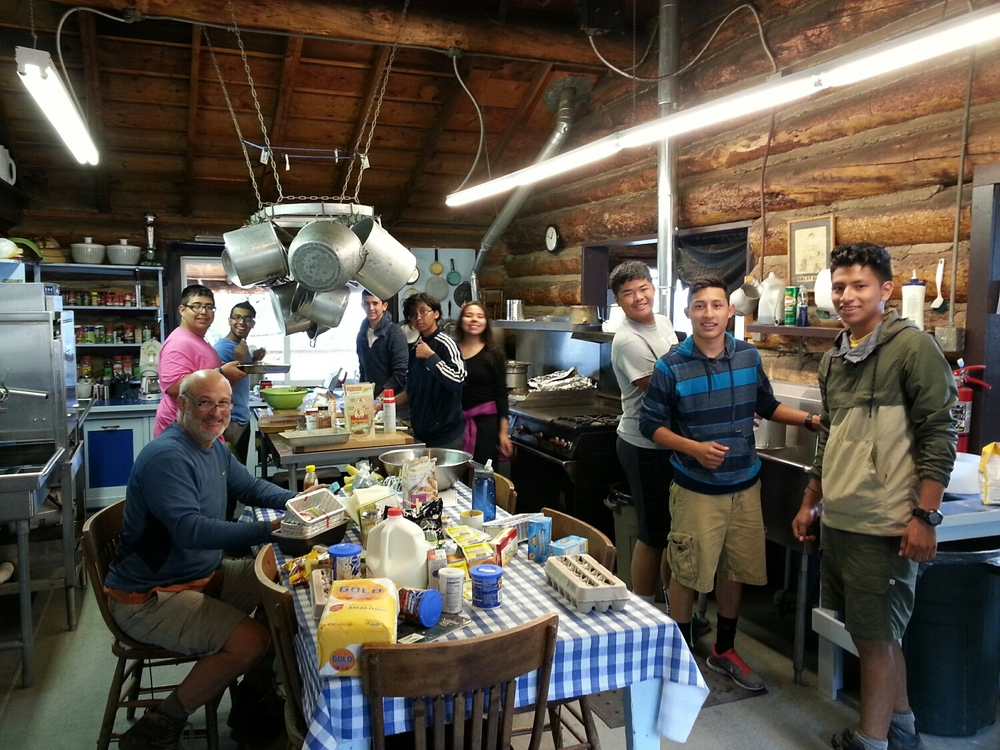 These awesome students from The Woods Project made dinner for Jeanette and crew after an unplanned stay at YBRA after their backcountry trip was postponed due to rain.