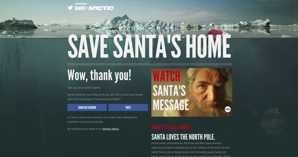 "GREENPEACE 'SAVE SANTA'S HOME"" WEBSITE: FEATURING GENTLY MOVING WATER IN THE BACKGROUND, A BOBBING SANTA HAT AND SINKING PRESENTS"