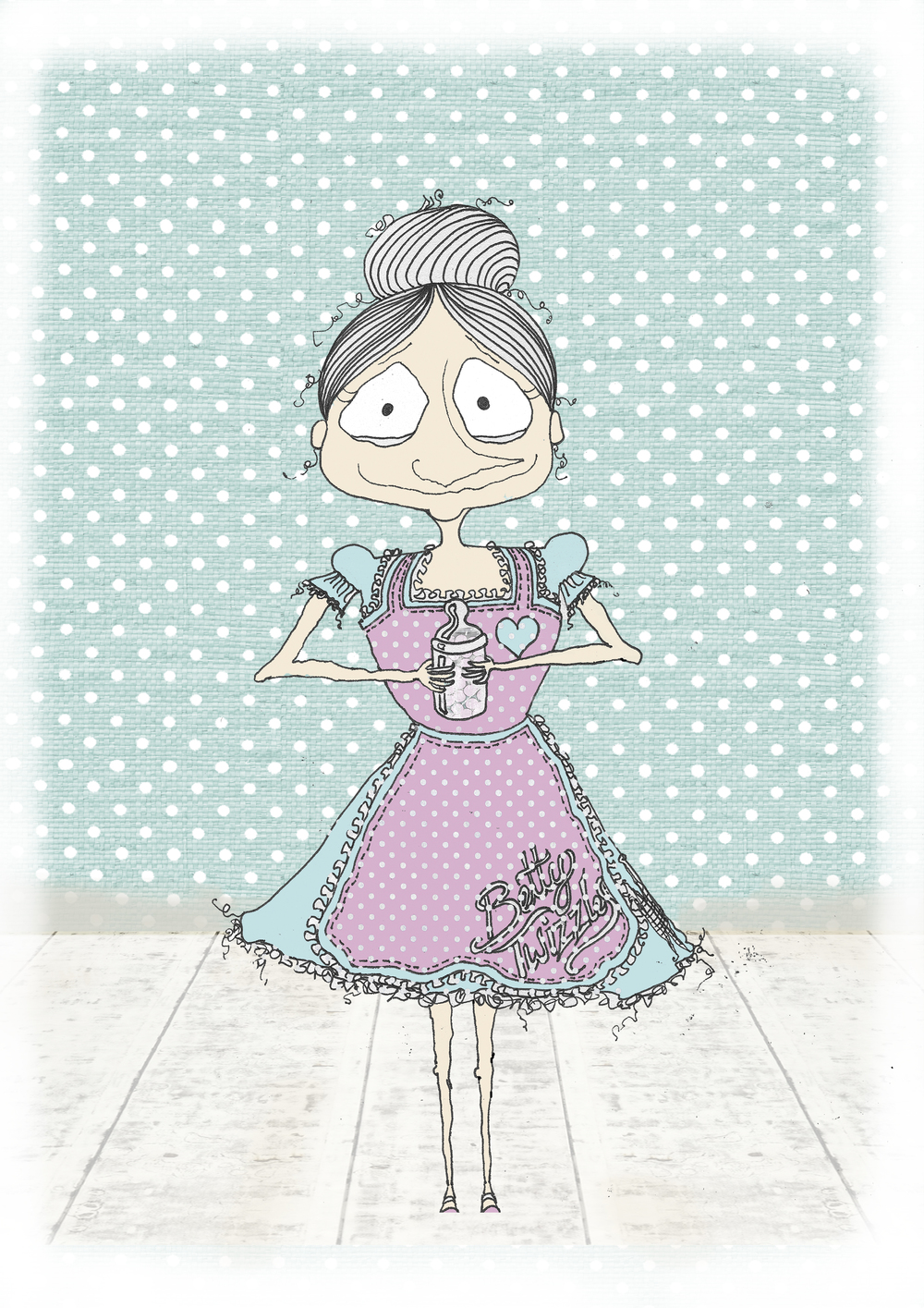 betty Twizzles standing teal polka dots A4.jpg
