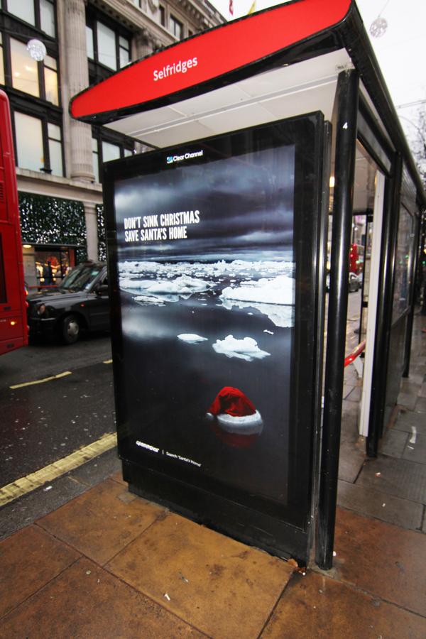 Oxford Street Greenpeace Bus shelters_ Save Santas home