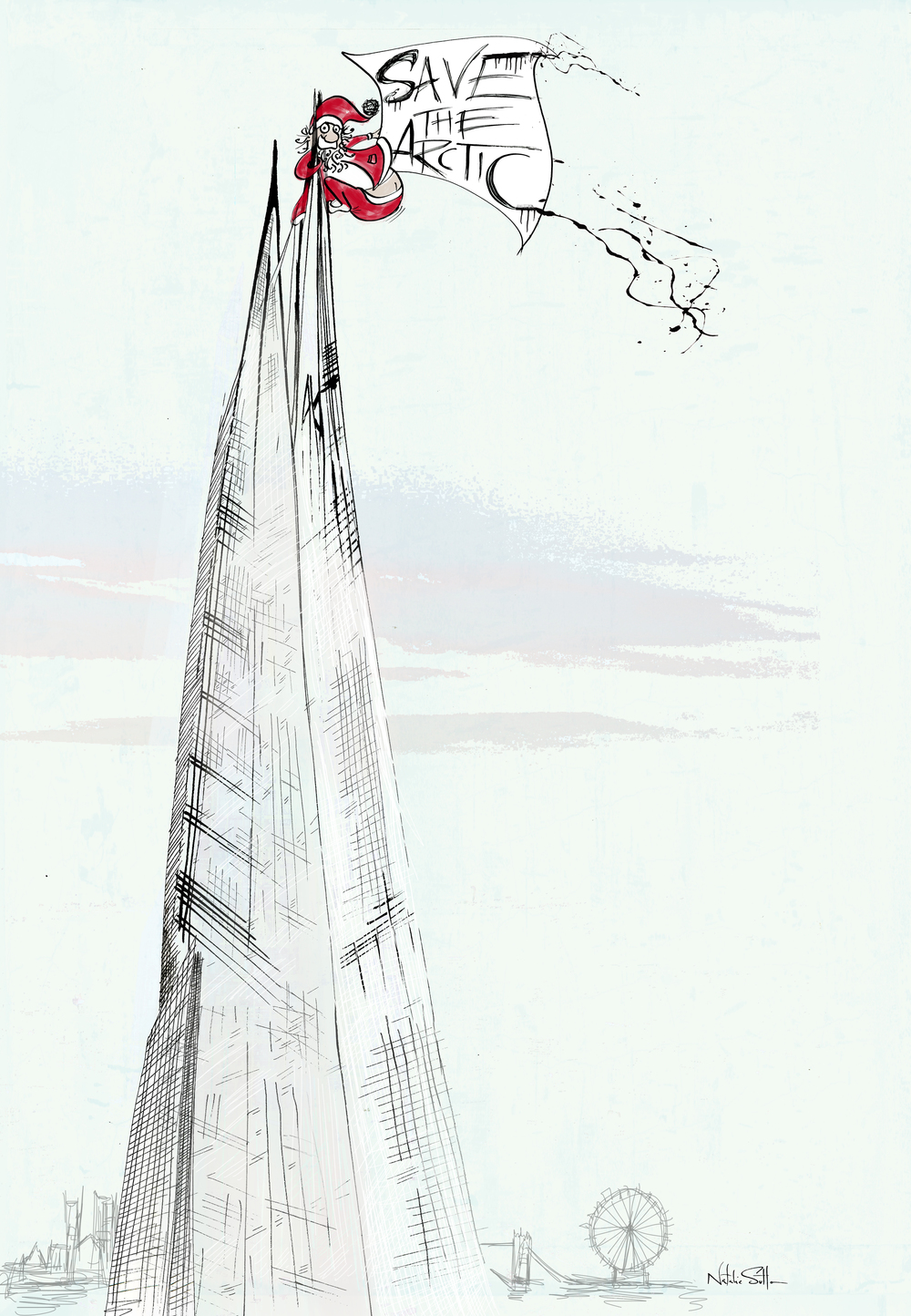 Santa up the shard_by illustrator & Art Director Natalie Sutton