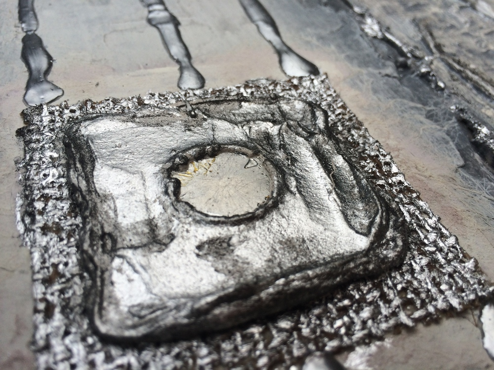 Silver & Melted Metal Textured Abstract