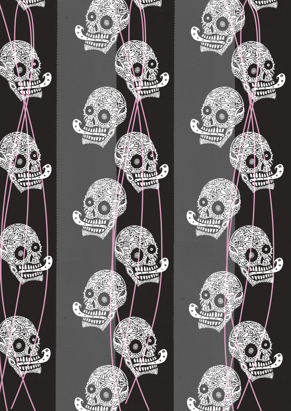 white little skulls black stripespink lines.jpg