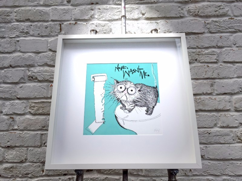 Loo roll chomper limited edition print CAT DON'T CARE- natalie palmer sutton art