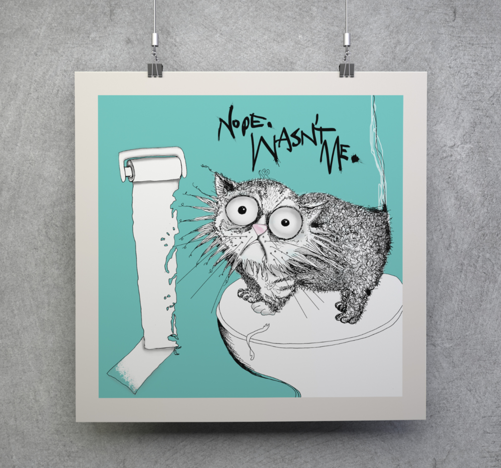 loo roll chomper| cat don't care | natalie palmer-sutton art
