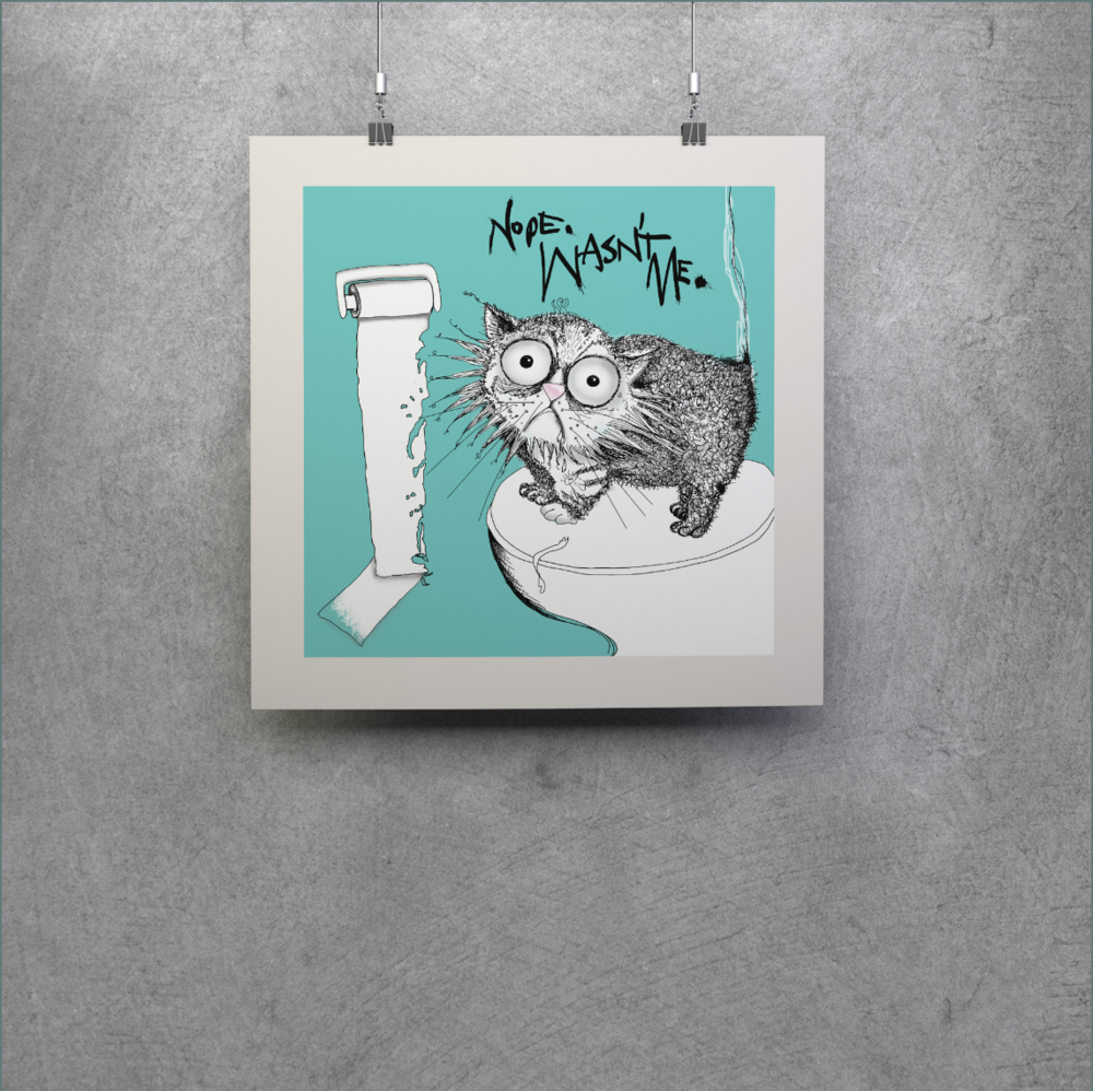 Loo roll chomper | cat don't care | natalie palmer-sutton art - limited edition mini print for cat lovers