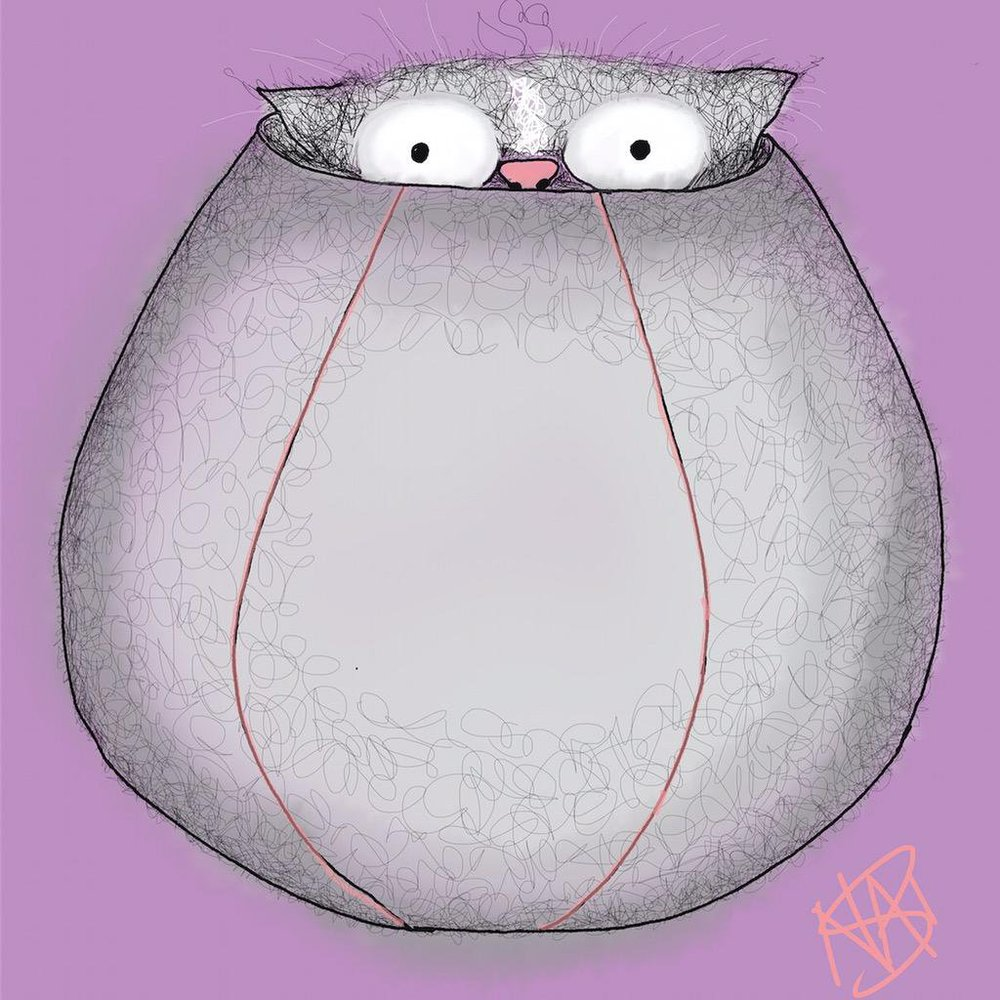 Cat Don't Care - Cat peeking out of a cat ball - Natalie Palmer Sutton Art | BOZO MEATBALL in a cat ball | Gifts for cat lovers | crazy cat ladies