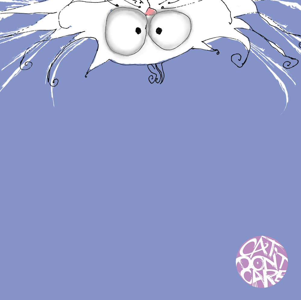 peeking cat upside down - crazy cat drawings - Natalie Palmer Sutton Illustration-animation - cat dont care