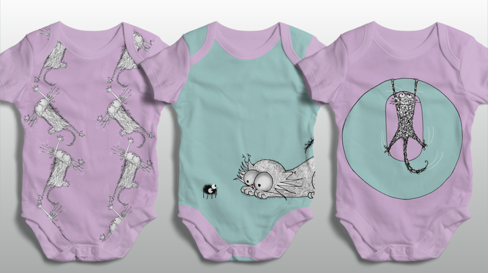 CAT DONT CARE | BABY SUITS VESTS 1 | NATALIE PALMER SUTTON | ILLUSTRATION | GIFTS FOR CRAZY CAT LOVERS
