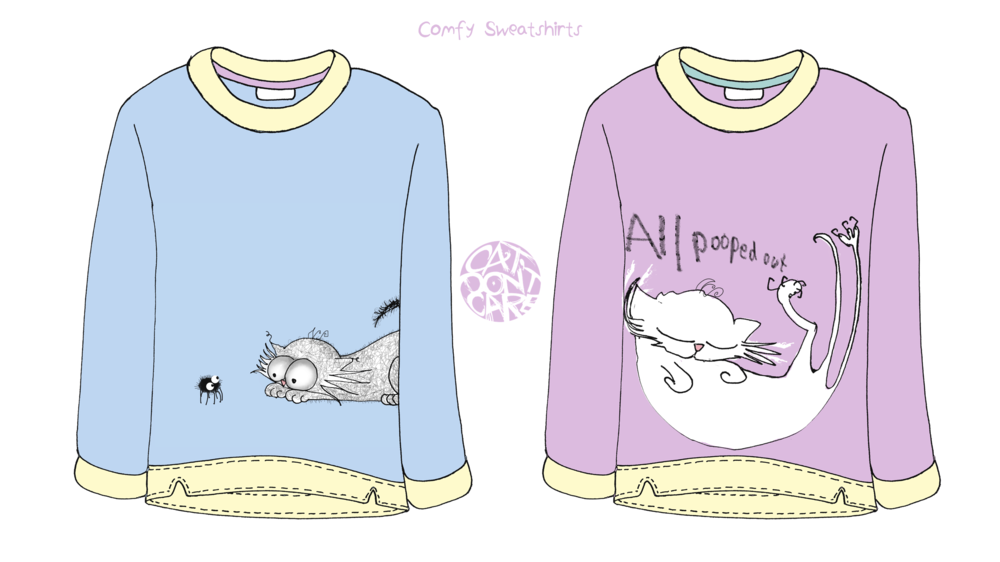 CAT DONT CARE | SWEATTOPS JUMPERS | NATALIE PALMER SUTTON | ILLUSTRATION | GIFTS FOR CRAZY CAT LOVERS