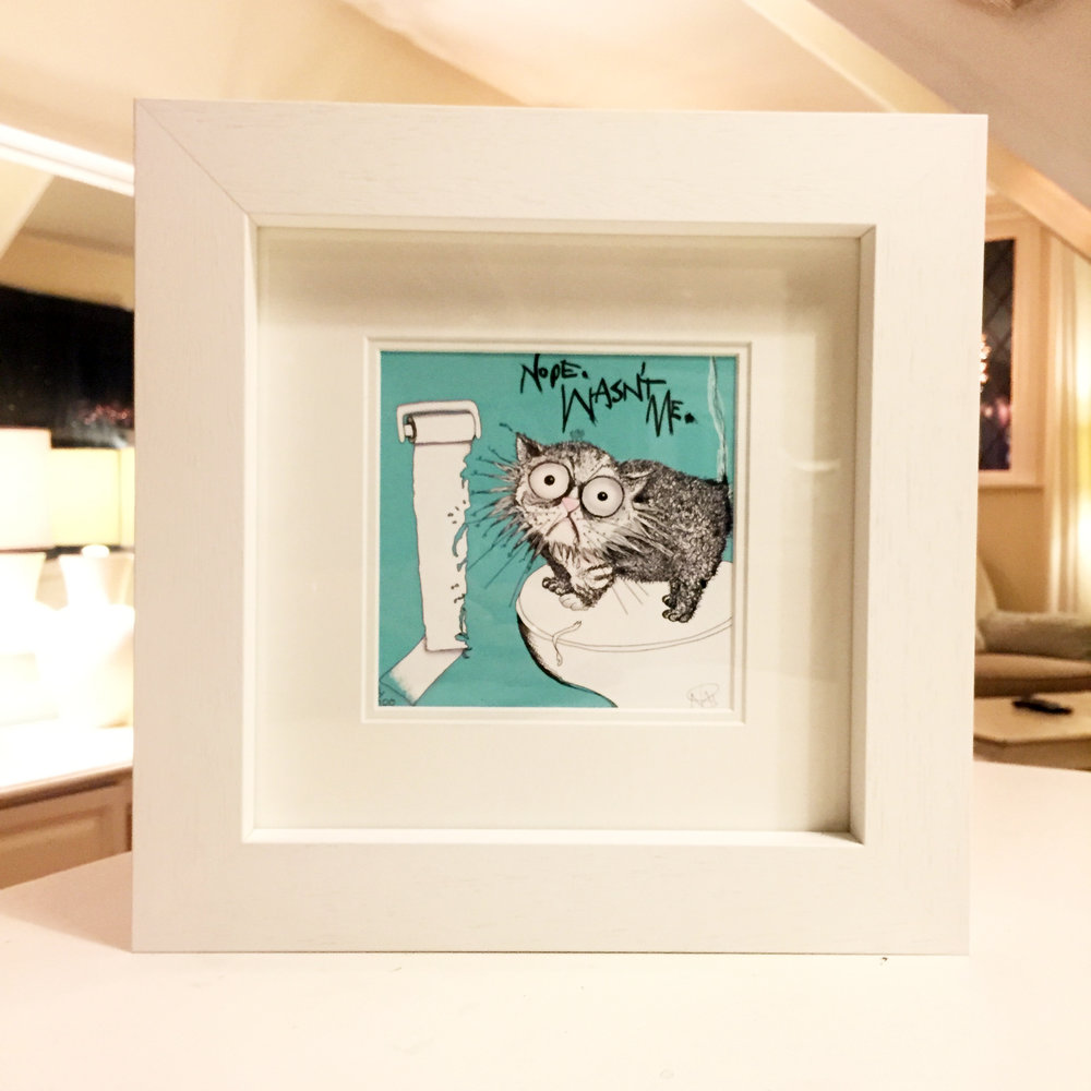 Cat Don't Care mini-print framed | Natalie Palmer Sutton Illustration