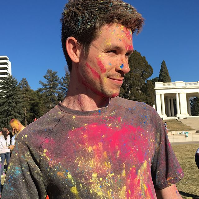 My first Holi festival experience! It was a blast. Life is good. 🎉😁 My friend @lmonitz joined me for the festivities.