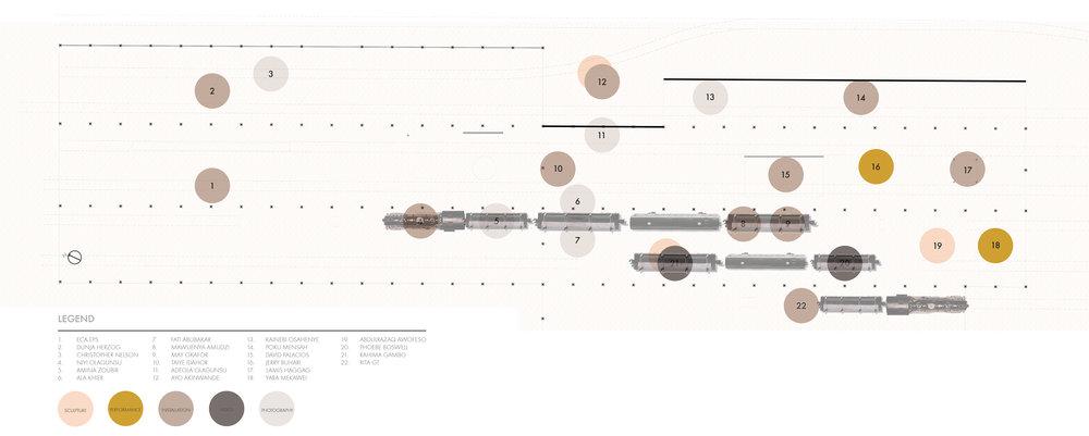 Floor Plan | Main Exhibition | Drawing by Jeanne Schultz + Ian Amen.