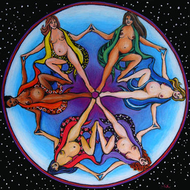 This image of dancing pregnant women celebrates our relationship with the wonders of birth around the world. Image by  Susan Kirk of Mother Art.