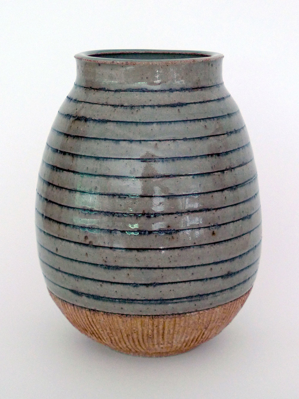 Grey Striped Vase
