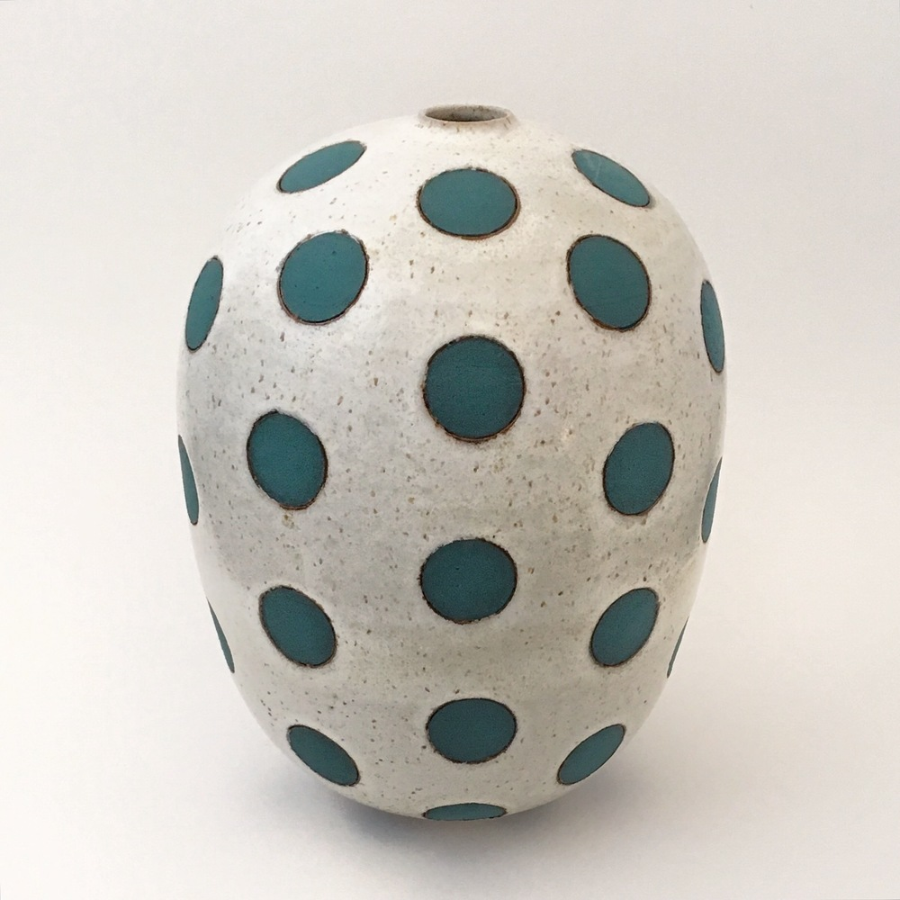 Green on White Polka Dot Vase