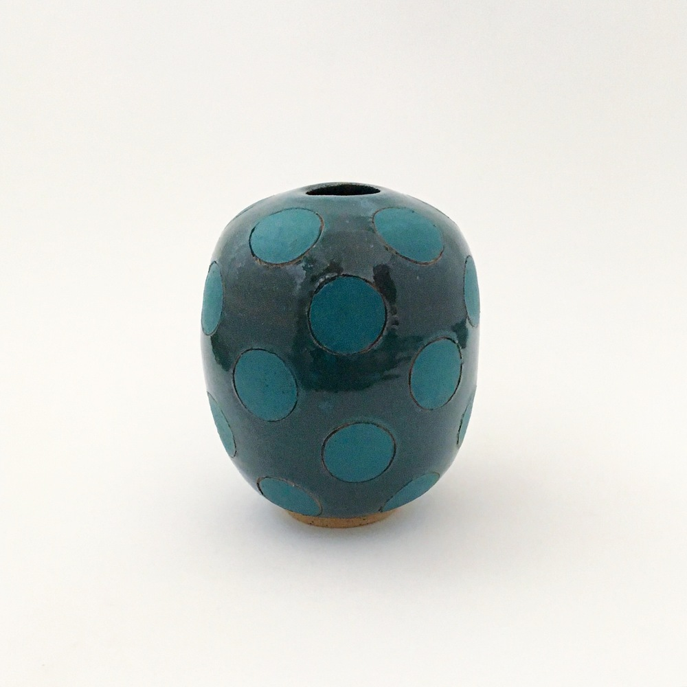 Green Polka Dot Bulb Vase