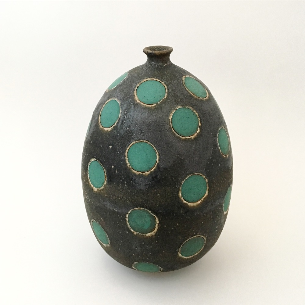 Green on Black Polka Dot Vase