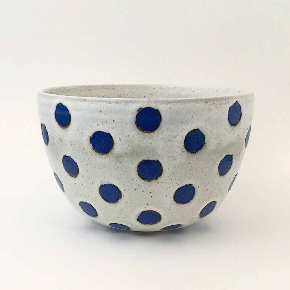 Blue on White Polka Dot Bowl