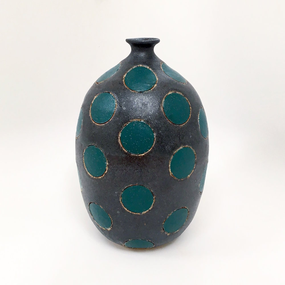 Green Polka Dot on Black Vase