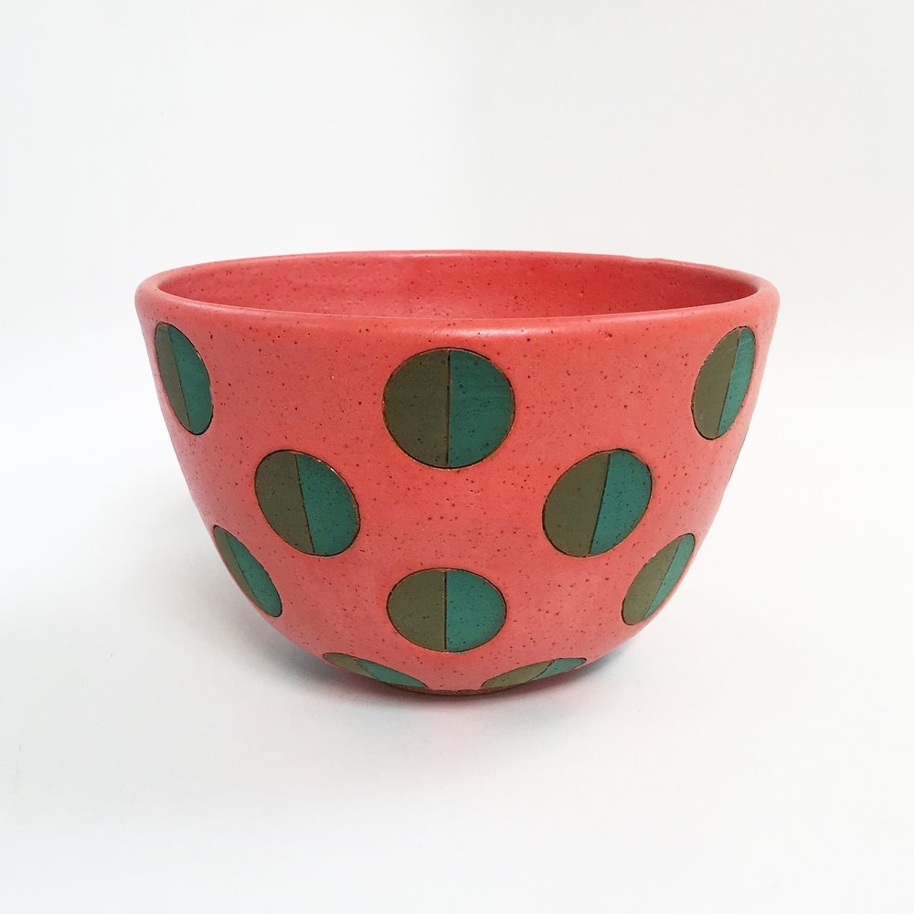 Coral Split Polka Dot Bowl