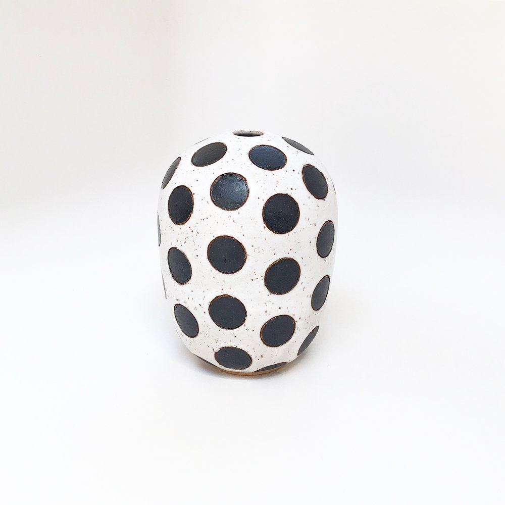 Black on White Dot Vase