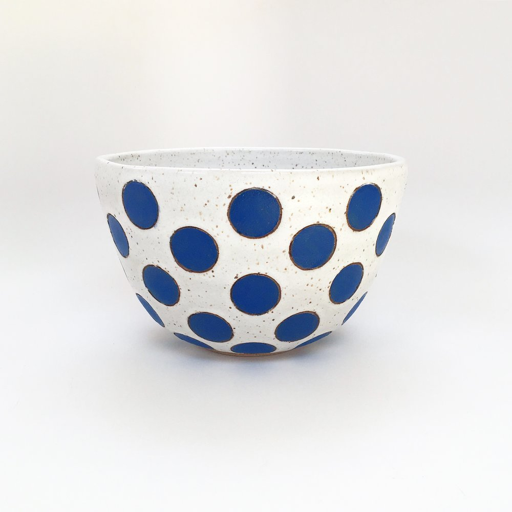 Blue Polka Dot Bowl