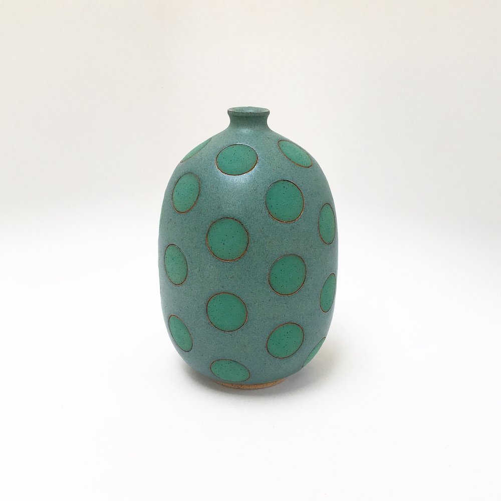 Green on Green Polk Dot Vase