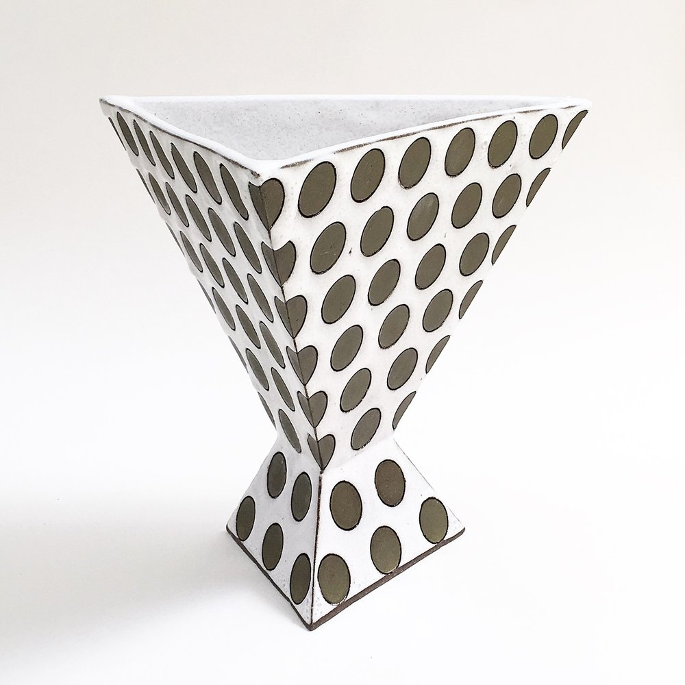 Triangular Polka Dot Vase