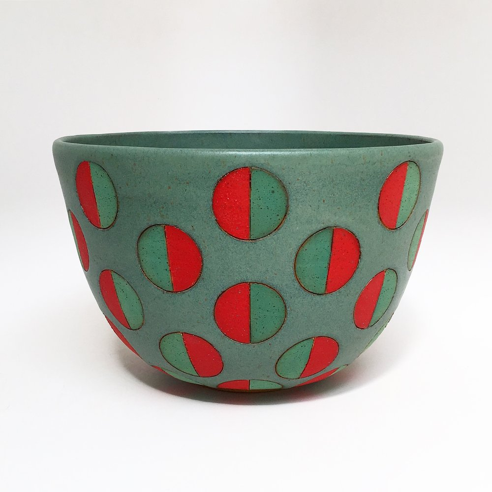 Green Split Polka Dot Bowl