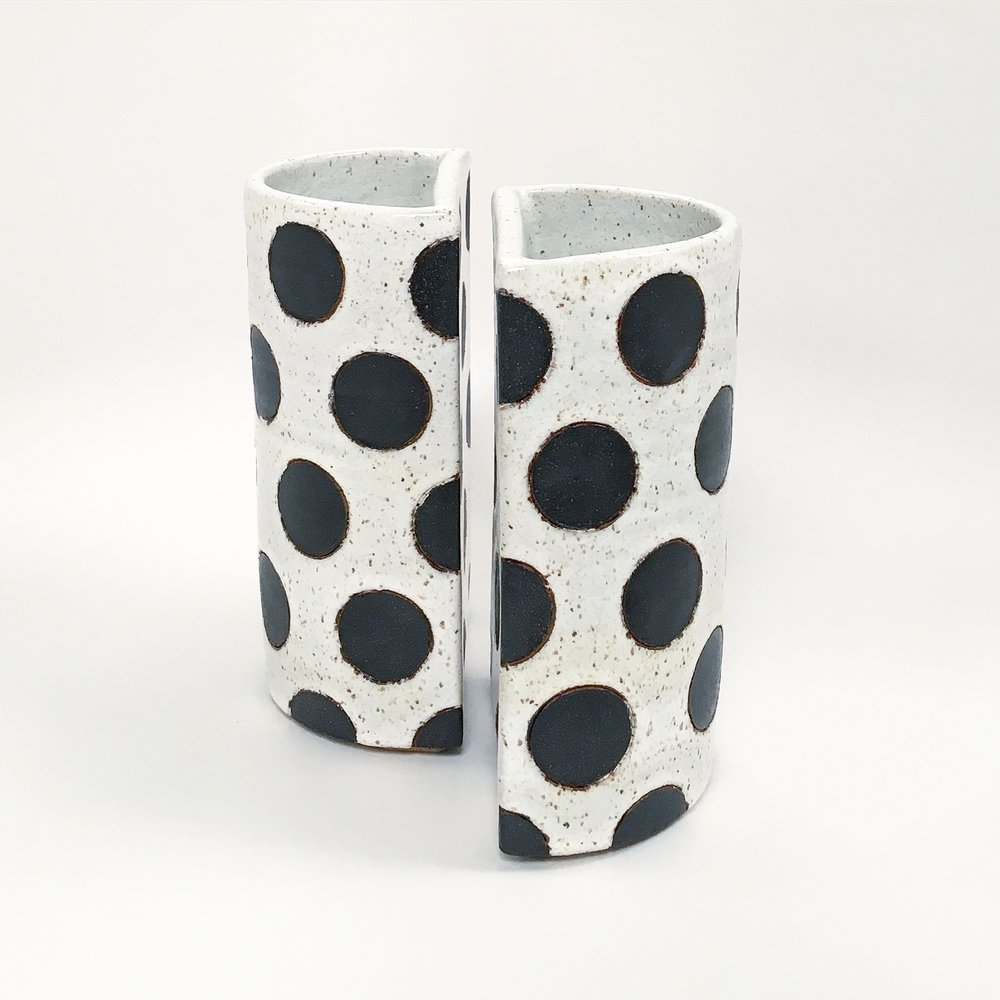 Black Polka Dot Split Vase