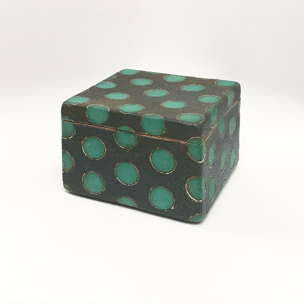 Green on Black Polka Dot Box