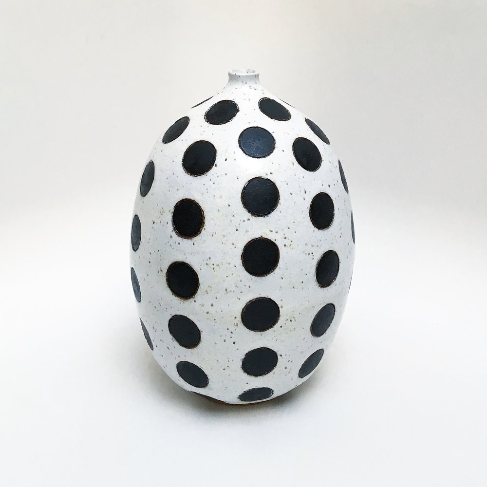Black Polka Dot Vase