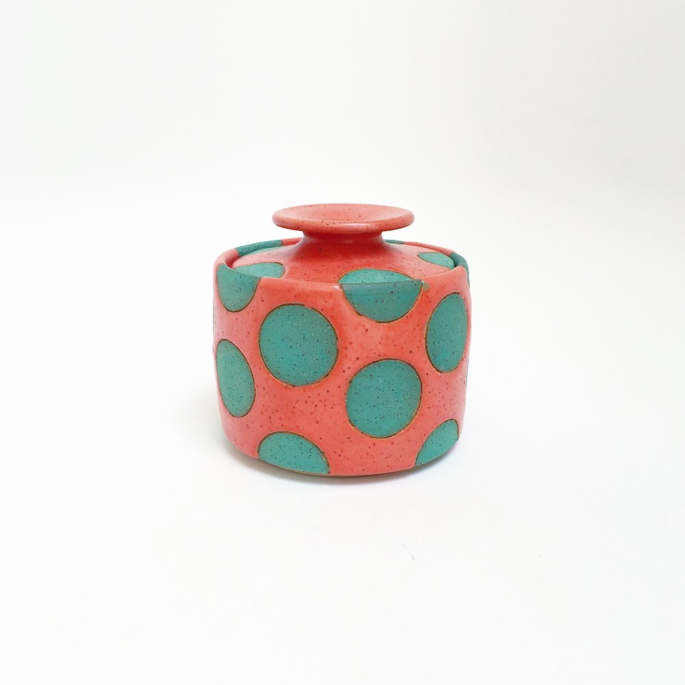 Coral and Green Polka Dot Jar
