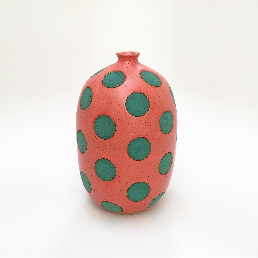 Coral and Green Polka Dot Vase