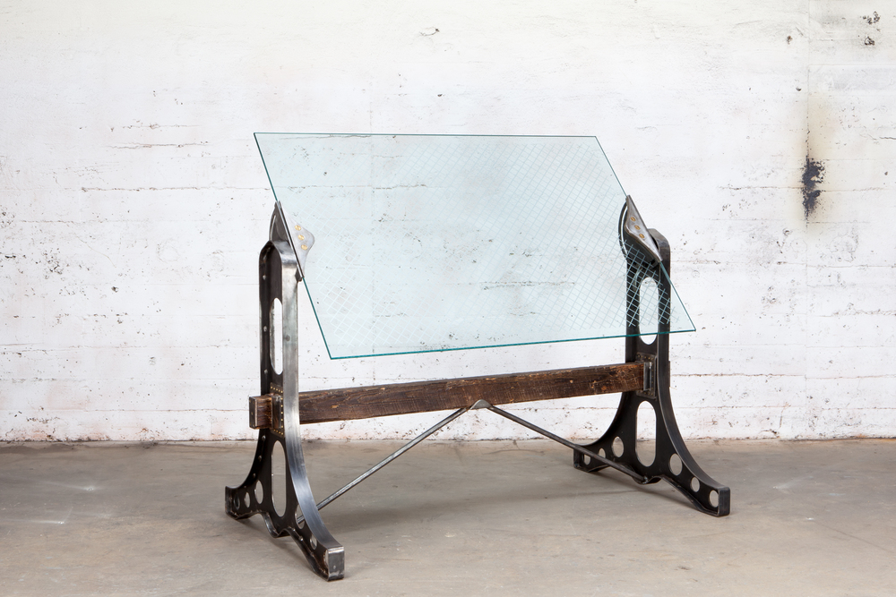 Drafting Table   Hand Forged Glass Top Reclaimed Timber
