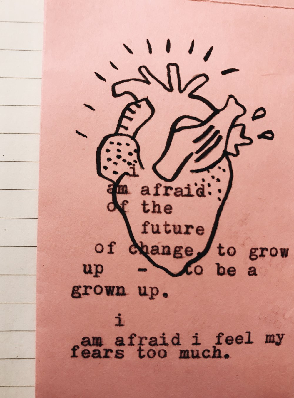I Feel My Fears Too Much (the heart). - I Amafraid.Of the future.Of change.To growup - to be agrownup.I AmafraidI feel my fears too much.