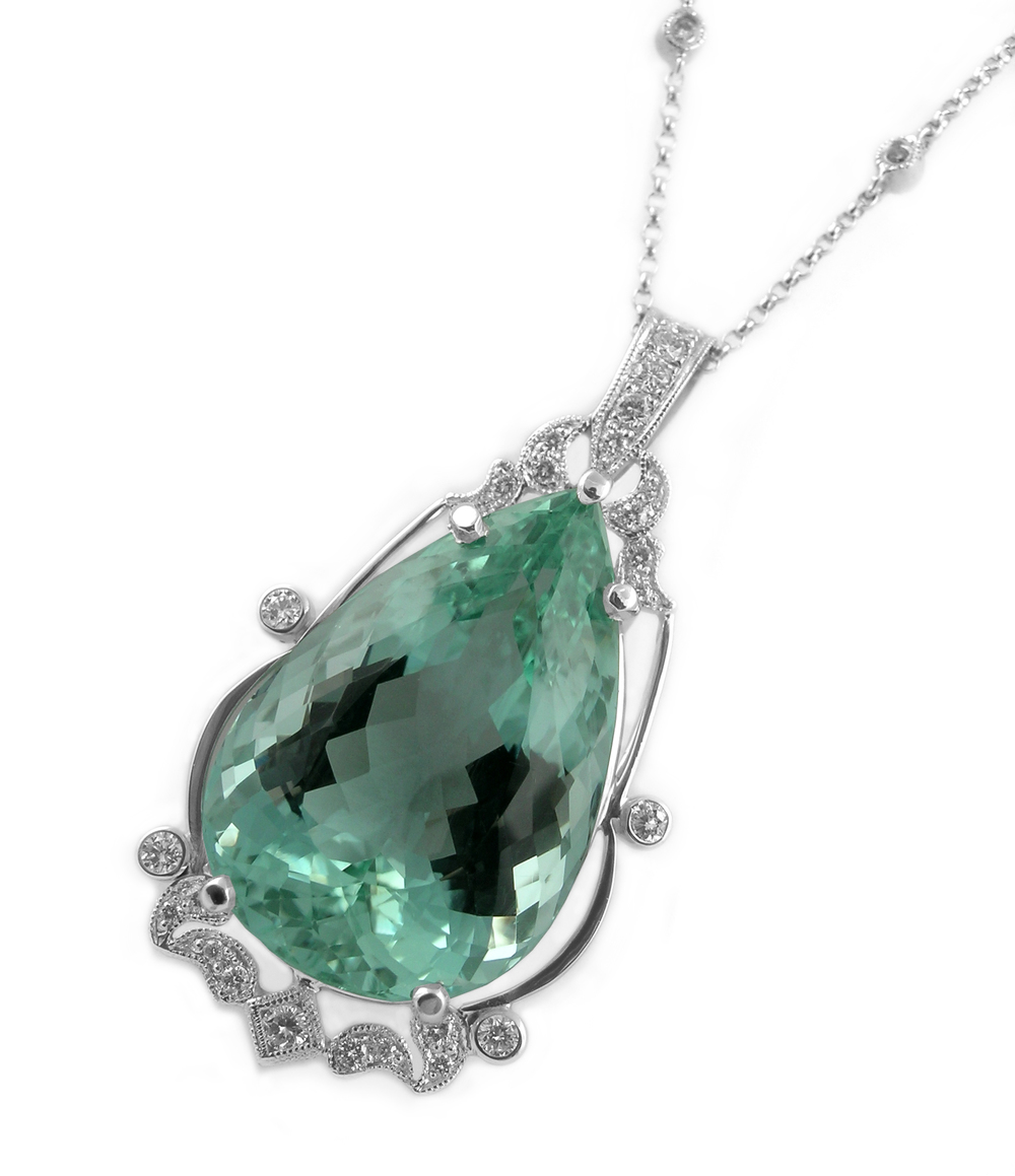 African Green Beryl and Diamonds